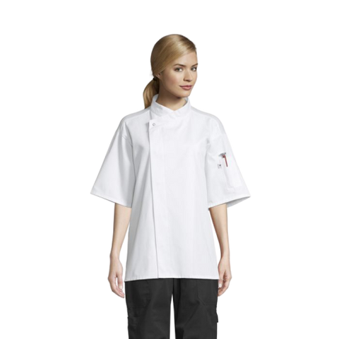 Uncommon Threads Chef Coat Short Sleeve XS White Unisex 65/35% Poly/Cotton Twill