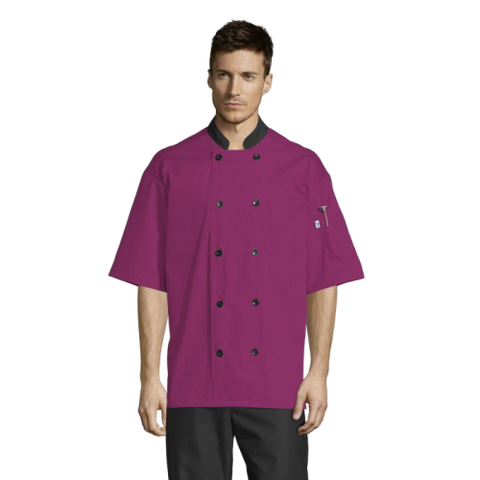 Uncommon Threads Havana Chef Coat W/Mesh Back Small Berry Unisex 65/35 Poly/Cotton Poplin