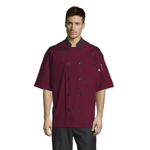 Uncommon Threads Havana Chef Coat W/Mesh Back Large Burgundy Unisex 65/35 Poly/Cotton Poplin
