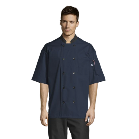 Uncommon Threads Havana Chef Coat W/Mesh Back Small Navy Unisex 65/35 Poly/Cotton Poplin