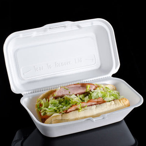 "superior-equipment-supply - Dart Mfg - Dart Foam Hinged Hoagie Container 10"" X 5.5"" X 3"" - 500/Case"
