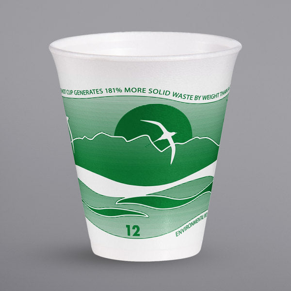 Dart Forest Green Foam Horizon Cup 12oz. 12J16H - 1000/Case