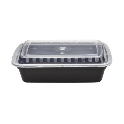 Plastic Oblong Microwaveable Container 38 oz. Black Bottom With Clear Lid - 150/Case