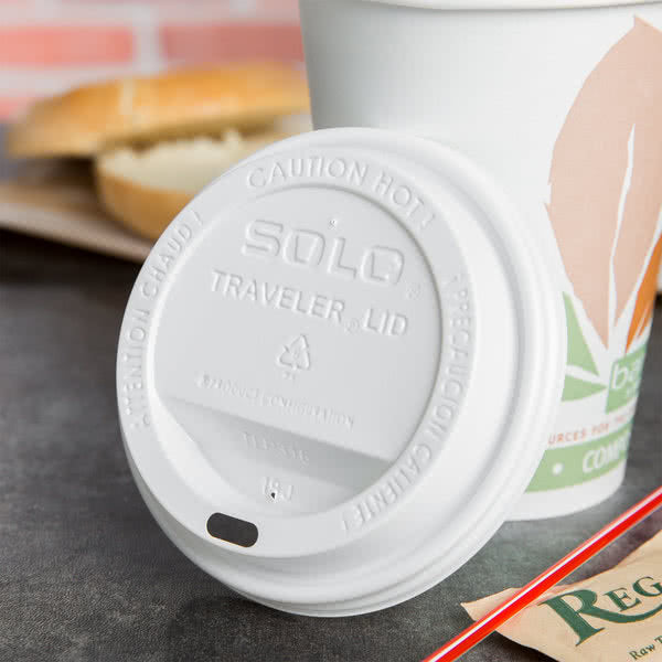 Solo White Dome Lid For Paper Hot Cup 10-20 oz  TL38R2 - 1000/Case