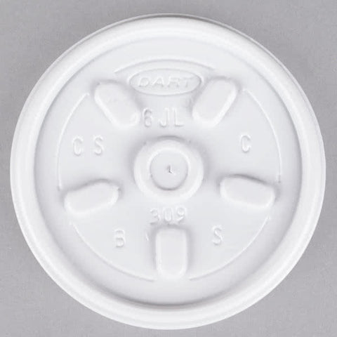 superior-equipment-supply - Dart Mfg - Dart Vented White Lid For 6 oz. Cup 6JL - 1000/Case