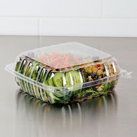 "superior-equipment-supply - Dart Mfg - Dart Mfg Clear Hinged Plastic Container 9"" x 9 1/2"" x 3"" C95PST1 - 200/Case"