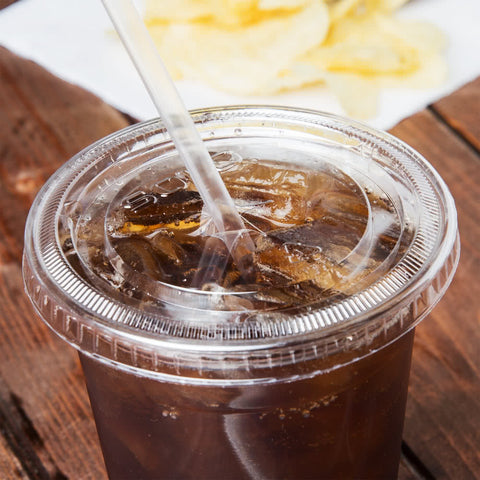 superior-equipment-supply - Solo - Solo Plastic Clear Cup Flat Lid With Straw Slot For 9-12 oz. Cup 662TS - 1000/Case
