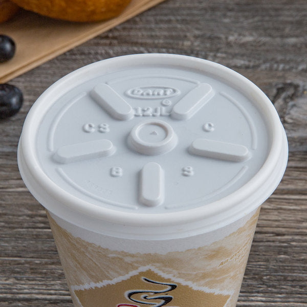 superior-equipment-supply - Dart Mfg - Dart Plastic White Vented Lid For 12 oz Cup 12JL - 1000/Case