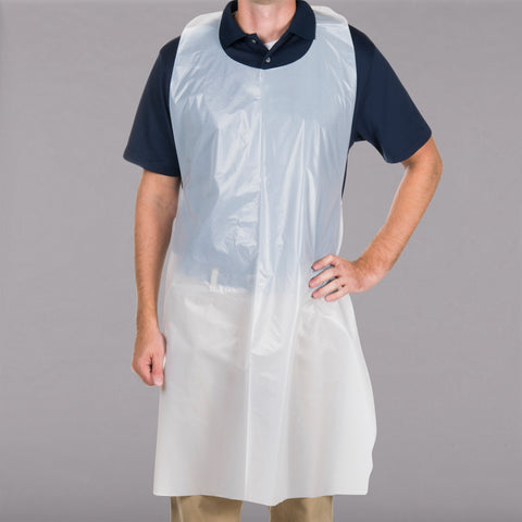 "Disposable White Poly Apron 46"" X 28"" - 100/Box"