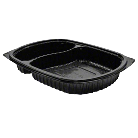superior-equipment-supply - Anchor Packaging - Anchor Packaging Microwaveable Container Black Two Compartment - 250/Case