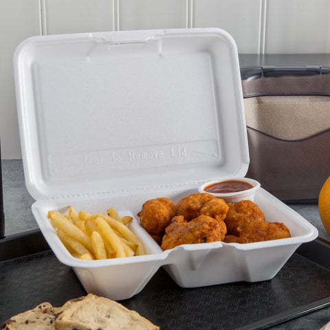 "superior-equipment-supply - Dart Mfg. - Dart Mfg. White Foam Hinged Carryout Hoagie Container 9"" x 6"" x 3"" Two Compartment XL - 200/Case"
