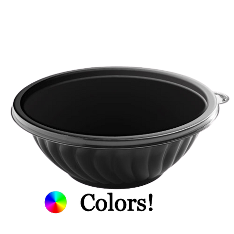 EMI Prepserve PET Plastic Salad Bowl 320 oz Black - 25/Case