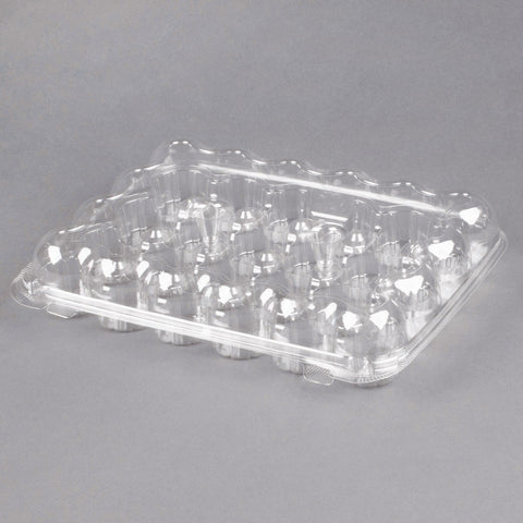 superior-equipment-supply - Vintage - Clear Hinged Two Piece Mini 24 Cell Cupcake Container - 25/Case