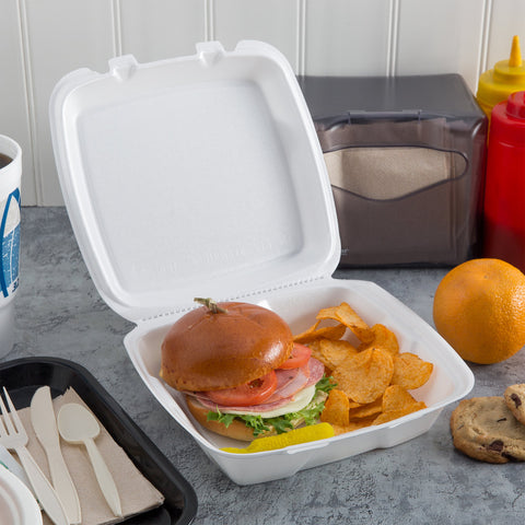 "superior-equipment-supply - Dart Mfg - Dart Mfg. Foam Hinged Carryout Container  9"" X 9"" X 1"" One Compartment - 200/Case"