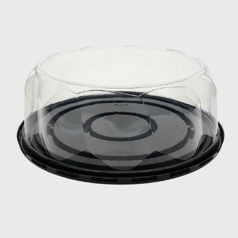 "Black RPET Plastic 10"" Cake Container for 8"" Cakes 9.75""W x 9.75""D x 3.5""H 10B35S - 100/Case"