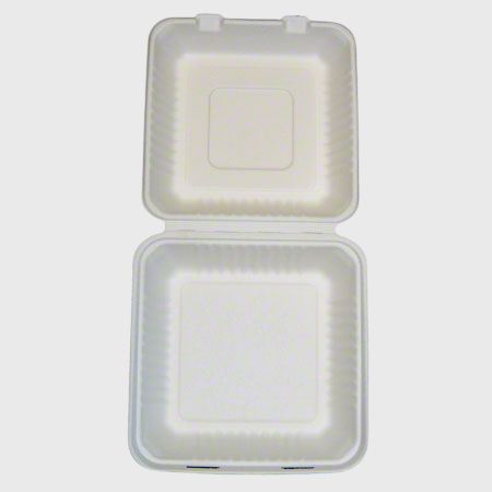 "Biodegradable Hinged 9"" X 9"" X 3"" Takeout Container One Compartment  - 200/Case"