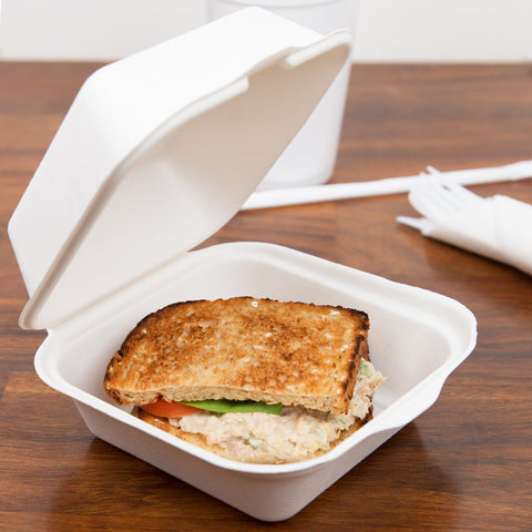 "superior-equipment-supply - Primeware - 6"" X 6"" Biodegradable Hinged Takeout Container Pulp - 500/Case"