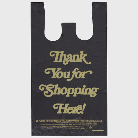 Black Plastic Thank You Bag 1/6 Self Open - 1000/Case