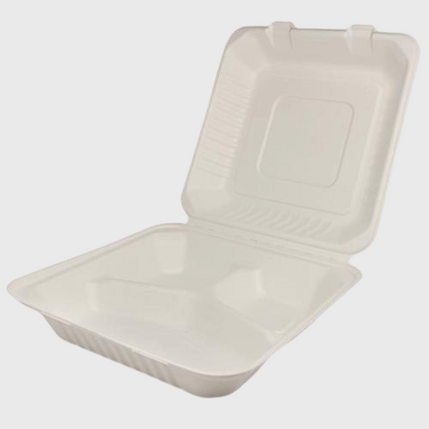 "Biodegradable Hinged 9"" X 9"" X 3"" Takeout Container Three Compartment  - 200/Case"
