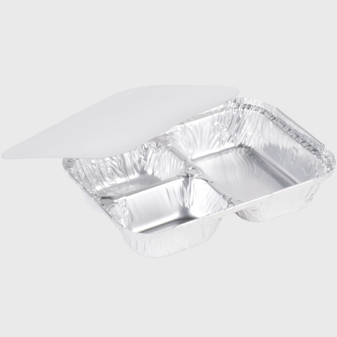 Aluminum Foil Oblong Three Compartment Tray With Board Lid - 250/Case