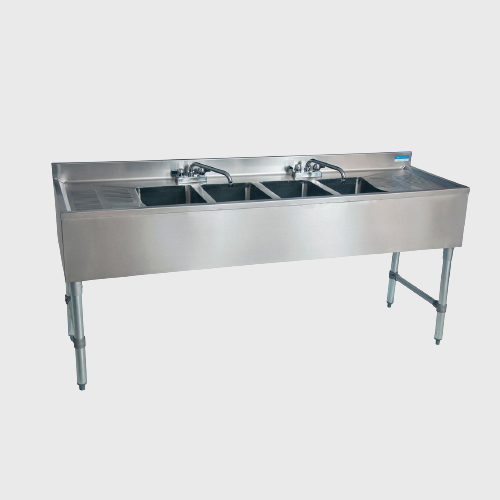BK Resources Stainless Steel Underbar Sink Four Compartment 72'W