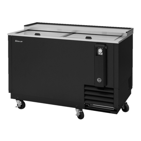 "superior-equipment-supply - Turbo Air - Turbo Air Black Laminated Exterior Two Sliding Lid 50"" Bottle Cooler"