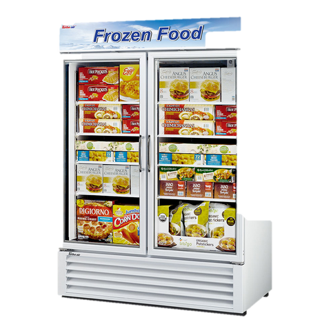 "superior-equipment-supply - Turbo Air - Turbo Air White Exterior Two Section Glass Door 49"" Freezer Merchandiser"