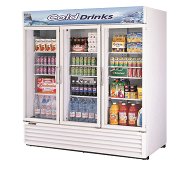 "Turbo Air White Cabinet Exterior Three Section Glass Door 78"" Refrigerated Merchandiser"