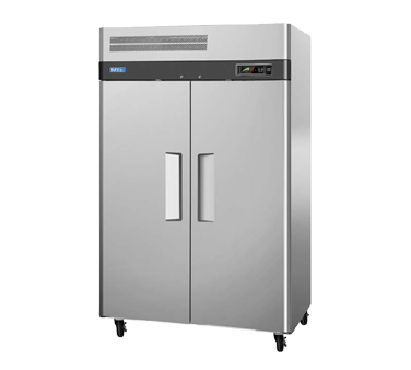 "Turbo Air Stainless Steel Two Section Solid Door 52"" Reach-In Freezer"