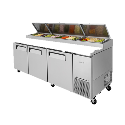 "Turbo Air Three-Section 93.37"" Pizza Prep Table"