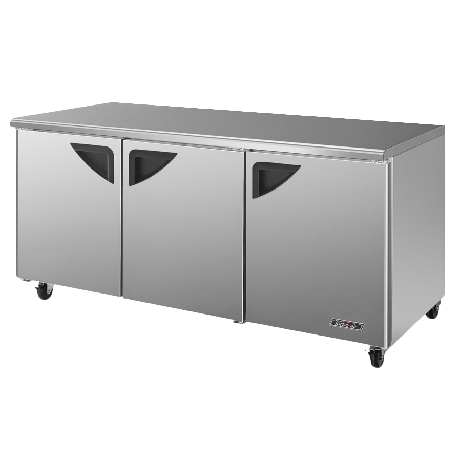 "Turbo Air Three-Section 72.62"" Undercounter Refrigerator"