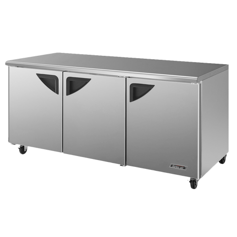 "superior-equipment-supply - Turbo Air - Turbo Air Stainless Steel Three-Section 72.62"" Undercounter Refrigerator"