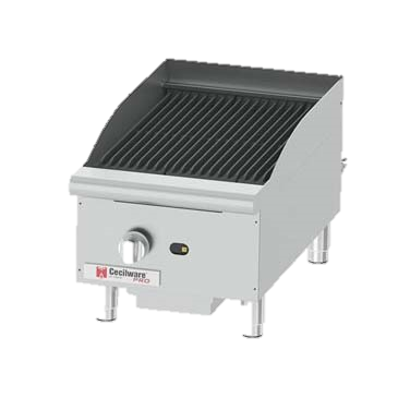"Grindmaster-Cecilware Stainless Steel Natural Gas Countertop Charbroiler 15""W x 20""D Cooking Surface"