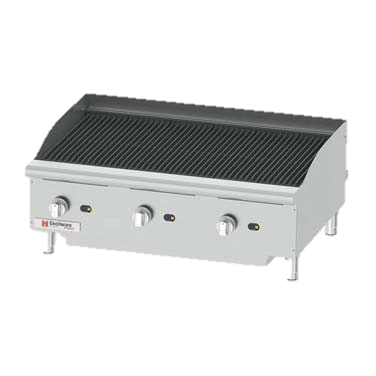 "Grindmaster-Cecilware Stainless Steel Natural Gas Countertop Charbroiler 36""W x 20""D Cooking Surface"