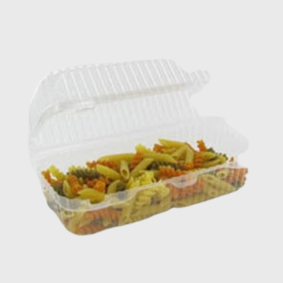 "Clear Loaf Hinged OPS Plastic Deep Container 7.6""W x 5.06""D x 3.8""H LBH-466 - 500/Case"