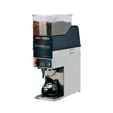 Grindmaster Cecilware Grind'n Brew® Coffee Grinder/Brewer, Single Brewer For Decanters (Decanters Sold Separately), (2) 6.5 Lbs Bean Hoppers