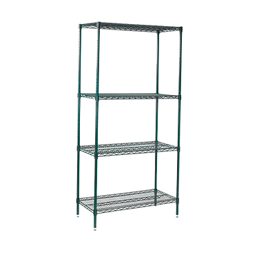 "Wire Shelving Set 4 Tiers Epoxy Coated 18"" x 36"" x 72"""
