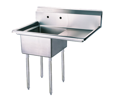 "Turbo Air 39"" One Compartment Sink With Right Hand Drainboard"