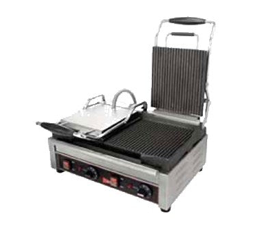 "Grindmaster Cecilware Sandwich/Panini Grill Double, (2) 7-1/4""W x 9""D, Stainless Steel"