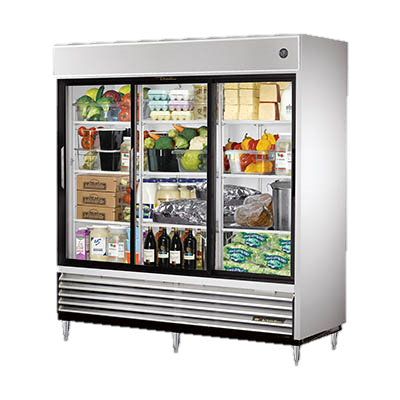 superior-equipment-supply - True Food Service Equipment - True Stainless Steel Three Glass Sliding Door Reach-In Refrigerator