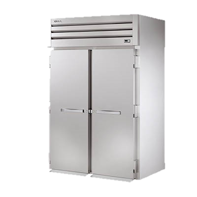 "True Stainless Steel Two-Section Two Door Roll-In Refrigerator 89""H"