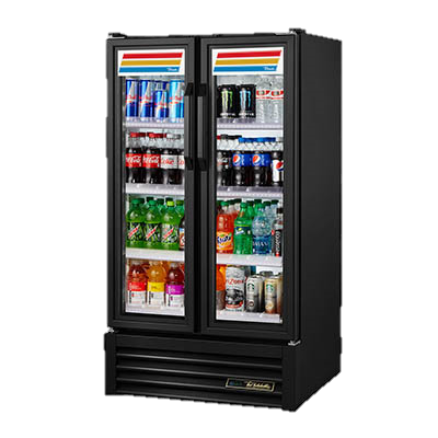 superior-equipment-supply - True Food Service Equipment - True Two-Section Four Shelf Black Vinyl Exterior Refrigerated Merchandiser