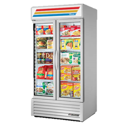 superior-equipment-supply - True Food Service Equipment - True Two-Section Eight Shelf Powder Coated Exterior Freezer Merchandiser