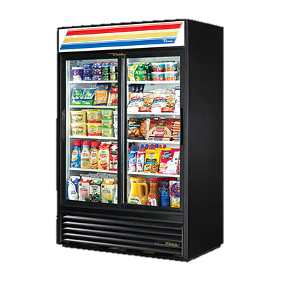 True Two-Section Eight Shelf Laminated Vinyl Exterior Refrigerated Merchandiser