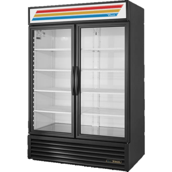 True Two-Section Eight Shelf Powder Coated Exterior Standard Look Refrigerated Merchandiser