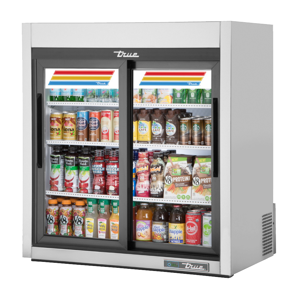 superior-equipment-supply - True Food Service Equipment - True Countertop Two Glass Sliding Door Stainless Steel Exterior Refrigerated Merchandiser