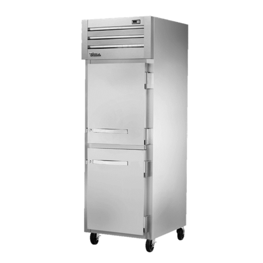 True One Section Two Stainless Steel Half Door Reach-In Freezer