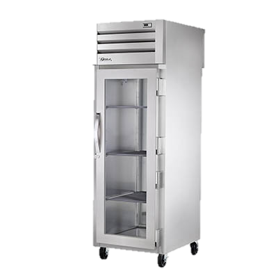 True One Section One Glass Door Front One Stainless Steel Door Rear Pass-Thru Refrigerator