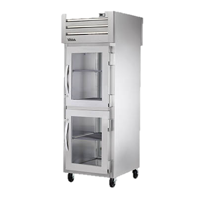 superior-equipment-supply - True Food Service Equipment - True One Section Two Glass Half Door Front One Stainless Steel Door Rear Pass-Thru Refrigerator