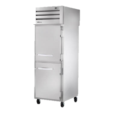 superior-equipment-supply - True Food Service Equipment - True One Section Two Stainless Steel Half Door Front One Glass Door Rear Pass-Thru Refrigerator